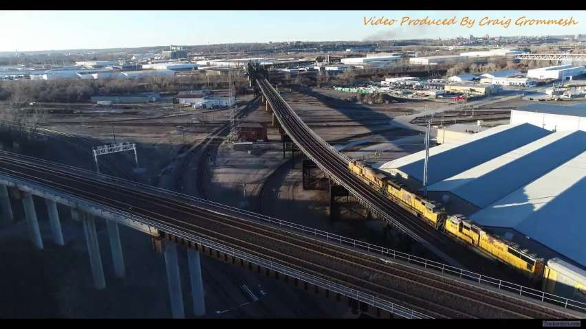 UP on the overpass at Santa Fe Junction crossing the Kansas River
