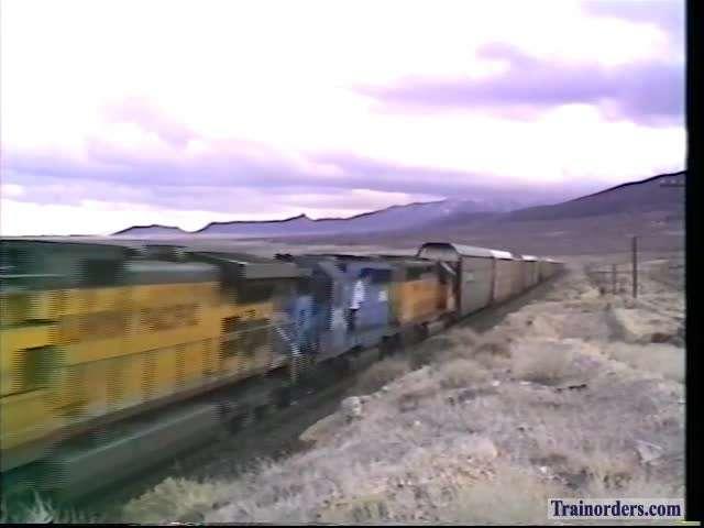 Pilot Siding, Nevada UP Auto Vans Westbound 3-2-1995