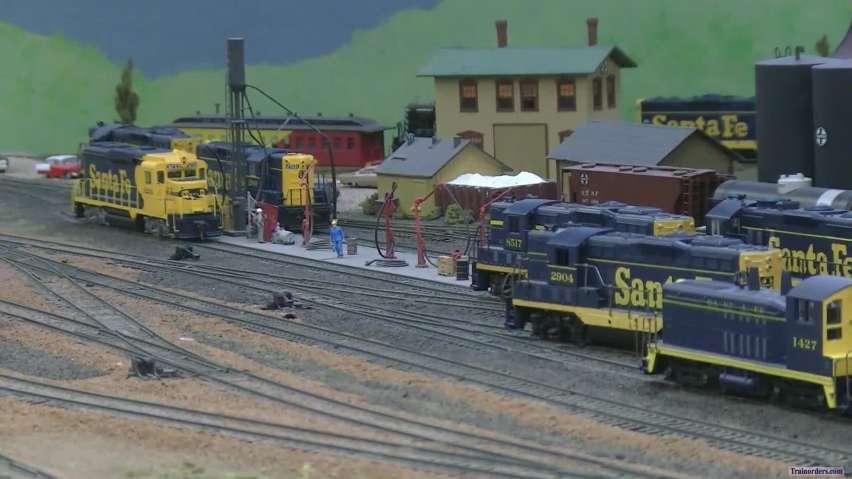 ATSF express and a mixed train meet
