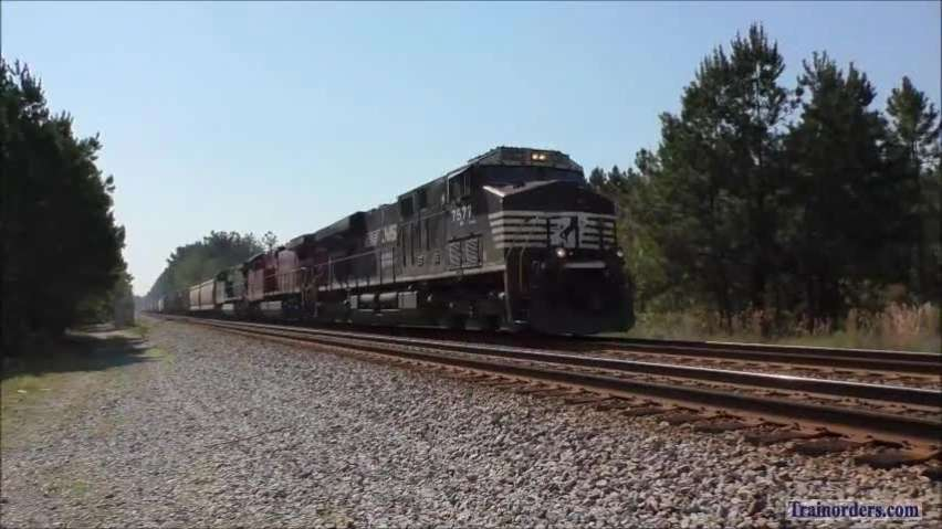 CSX Phosphate train with NS & CP unit.  RF&P hoppers