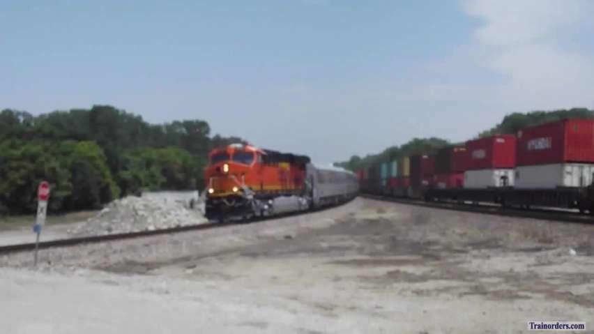 BNSF passenger special enters Topeka Sub. at Holliday