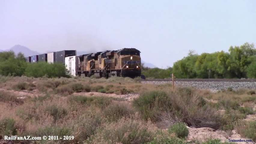 Two Trains from 04/14/2018 along the UP Gila Sub