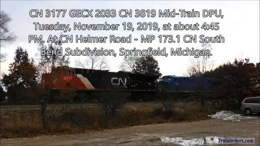 CN 3177 GECX 2033 CN 3819 Mid-Train DPU, Tuesday, 11-19-2019