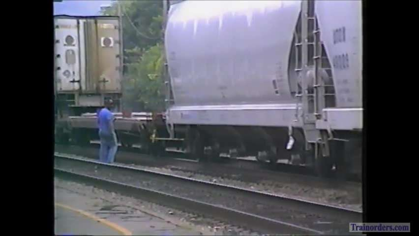 NS and Amtrak at Anniston, Alabama in 1992