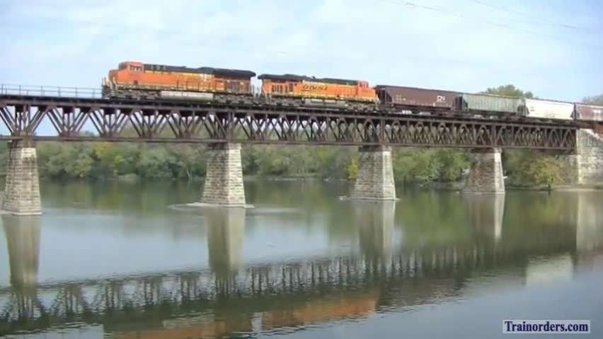 Freight and Trolleys along Fox River (Illinois)