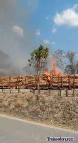 Log train C276 on fire (Brazil)